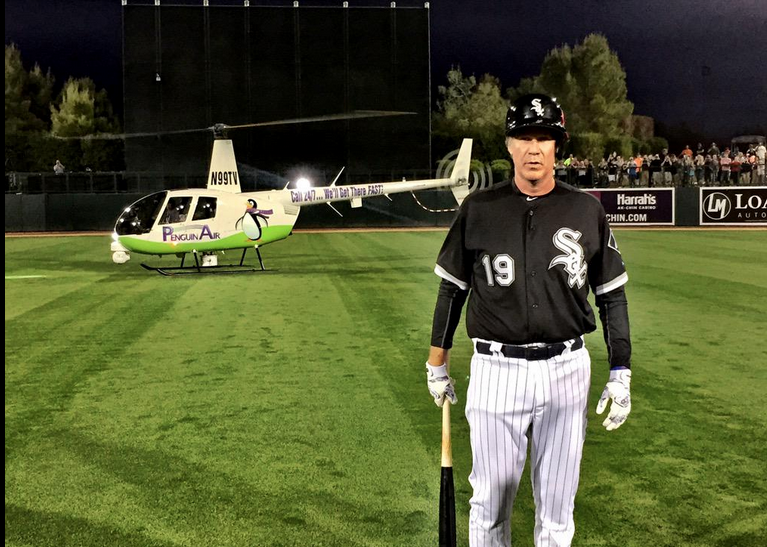 Flying Will Ferrell from One Spring Training Game To Another
